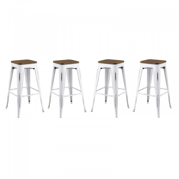 EEI-3957-WHI Promenade Bar Stool Set of 4 White