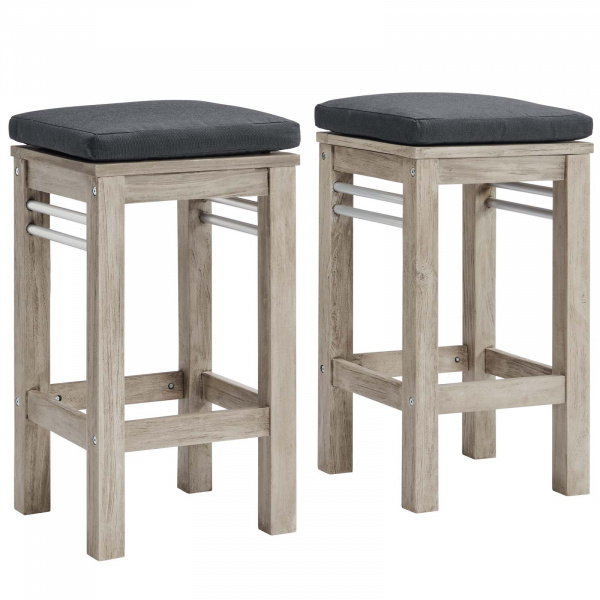 EEI-3969-LGR-STE Wiscasset Outdoor Patio Acacia Wood Bar Stool Set of 2