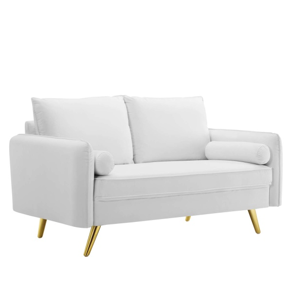 EEI-3989-WHI Revive Performance Velvet Loveseat White