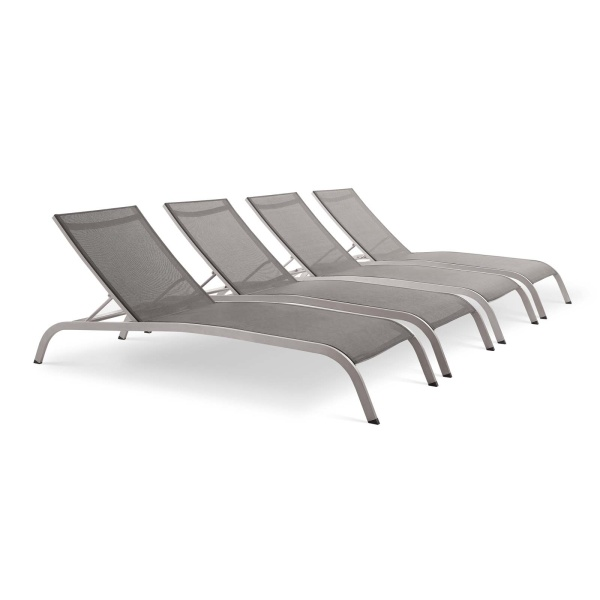 EEI-4007-GRY Savannah Outdoor Patio Mesh Chaise Lounge Set of 4 Gray