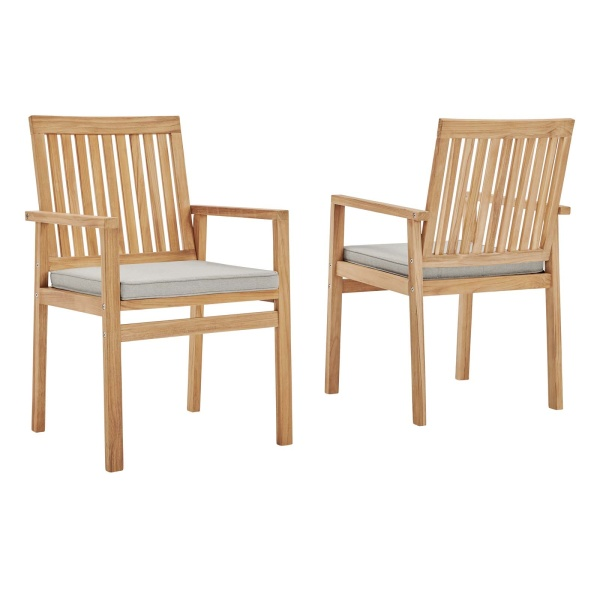 EEI-4011-NAT-TAU Farmstay Outdoor Patio Teak Dining Armchair Set of 2 in Natural Taupe