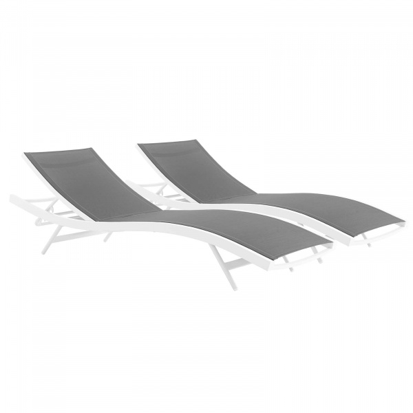 EEI-4038-WHI-GRY Glimpse Outdoor Patio Mesh Chaise Lounge Set of 2 White Gray