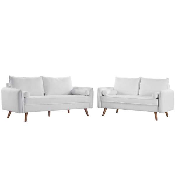 Revive Upholstered Fabric Sofa and Loveseat Set White