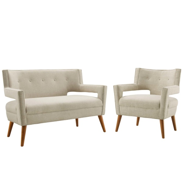 Sheer Upholstered Fabric Loveseat and Armchair Set Sand