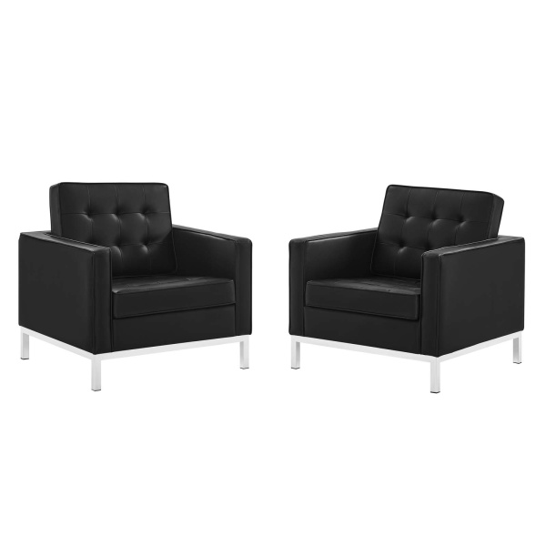 EEI-4101-SLV-BLK Loft Tufted Upholstered Faux Leather Armchair Set of 2 in Silver Black