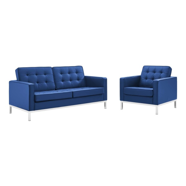 Loft Tufted Upholstered Faux Leather Loveseat and Armchair Set Silver Navy