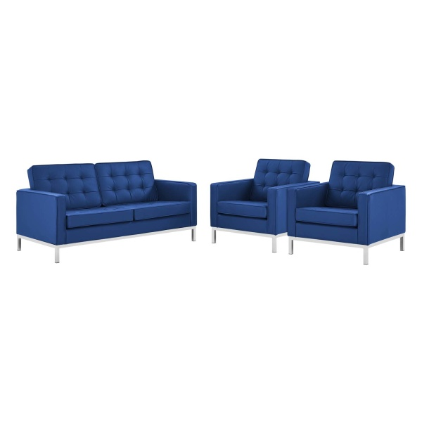 Loft 3 Piece Tufted Upholstered Faux Leather Set Silver Navy