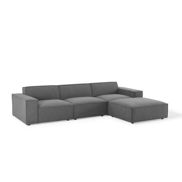 EEI-4113-CHA Restore 4 Piece Sectional Sofa in Charcoal