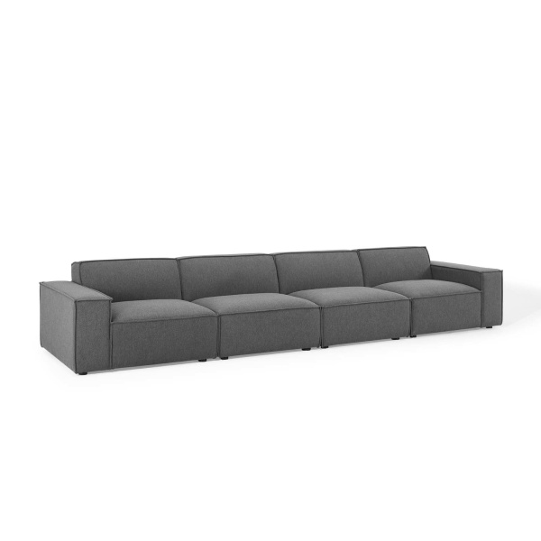 EEI-4114-CHA Restore 4 Piece Sectional Sofa in Charcoal