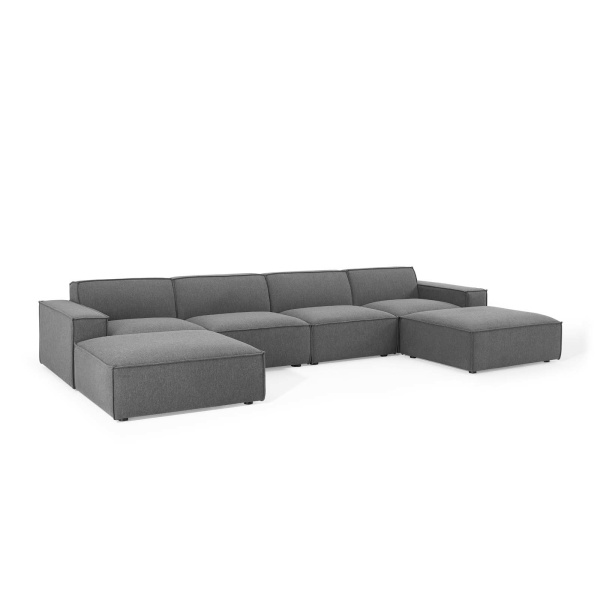 EEI-4116-CHA Restore 6 Piece Sectional Sofa in Charcoal