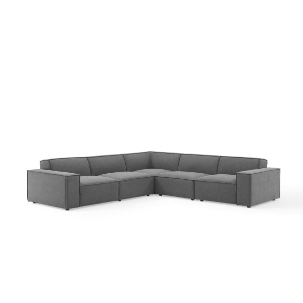 EEI-4117-CHA Restore 5 Piece Sectional Sofa in Charcoal