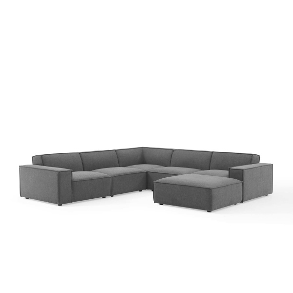 EEI-4118-CHA Restore 6 Piece Sectional Sofa in Charcoal