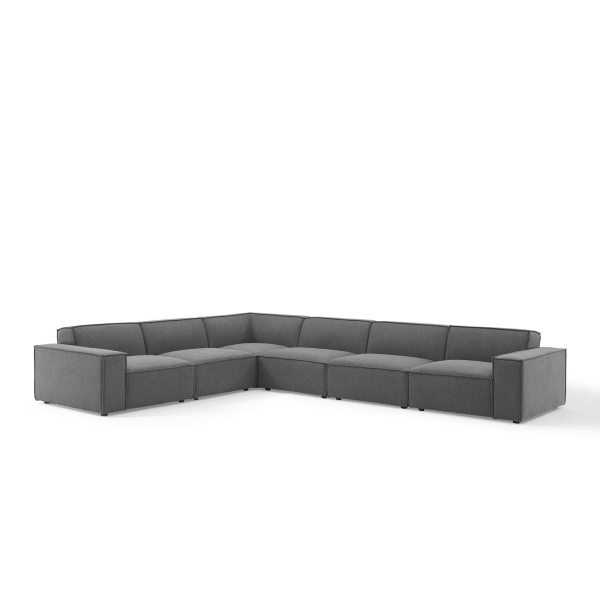 EEI-4119-CHA Restore 6 Piece Sectional Sofa in Charcoal