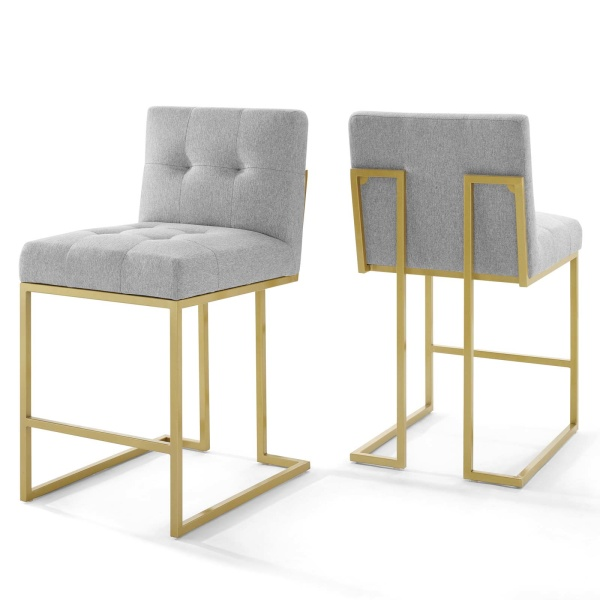 EEI-4154-GLD-LGR Privy Gold Stainless Steel Upholstered Fabric Counter Stool Set of 2 Gold Light Gray