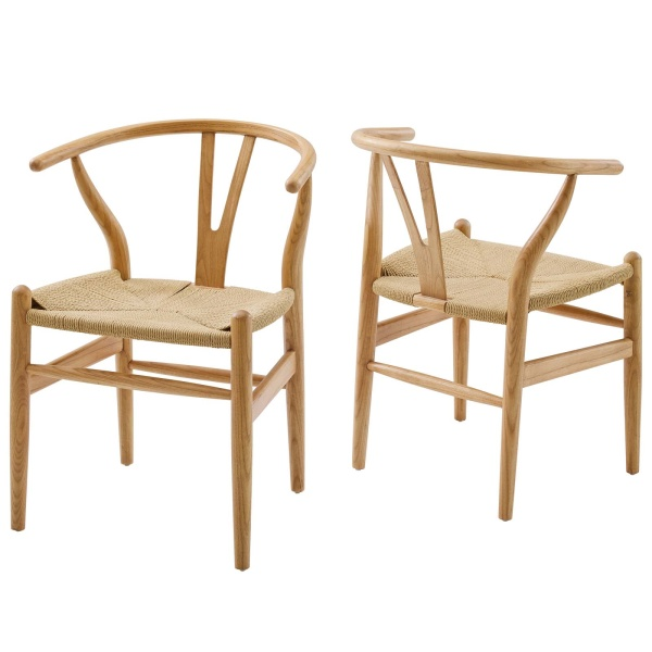 EEI-4164-NAT Amish Wood Dining Armchair Set of 2 Natural