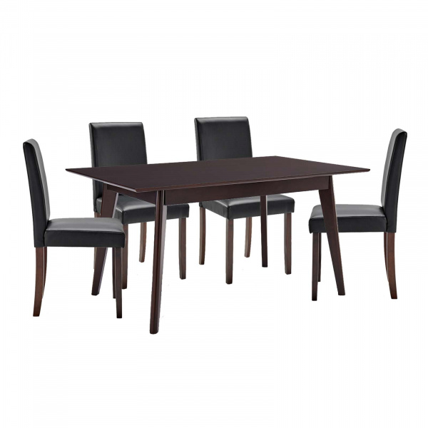 EEI-4181-CAP-BLK Prosper 5 Piece Faux Leather Dining Set Black