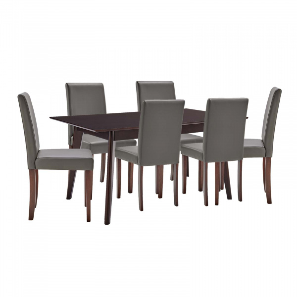 EEI-4182-CAP-GRY Prosper 7 Piece Faux Leather Dining Set Gray