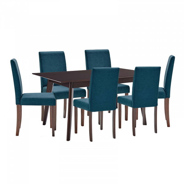 EEI-4184-CAP-BLU Prosper 7 Piece Upholstered Fabric Dining Set Blue