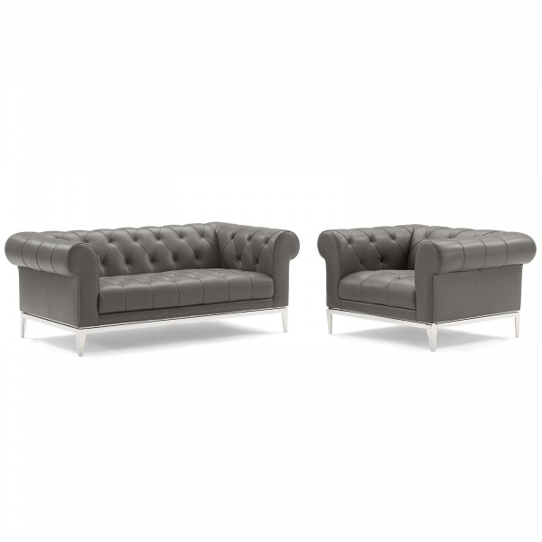 Idyll Tufted Upholstered Leather Loveseat and Armchair