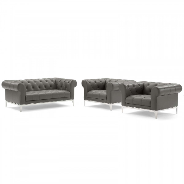 Idyll Tufted Upholstered Leather 3 Piece Set Gray