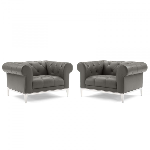 EEI-4195-GRY Idyll Tufted Upholstered Leather Armchair Set of 2 Gray
