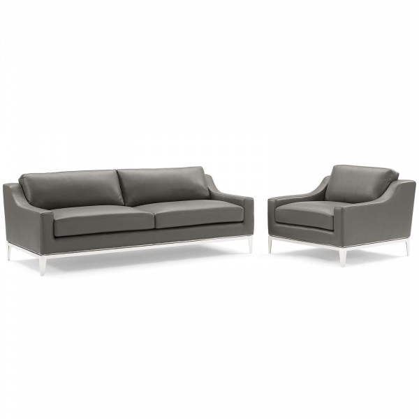 EEI-4198-GRY-SET Harness Stainless Steel Base Leather Sofa & Armchair Set Gray
