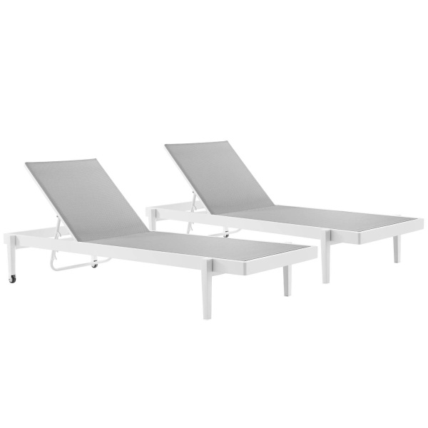 EEI-4204-WHI-GRY Charleston Outdoor Patio Aluminum Chaise Lounge Chair Set of 2 White Gray