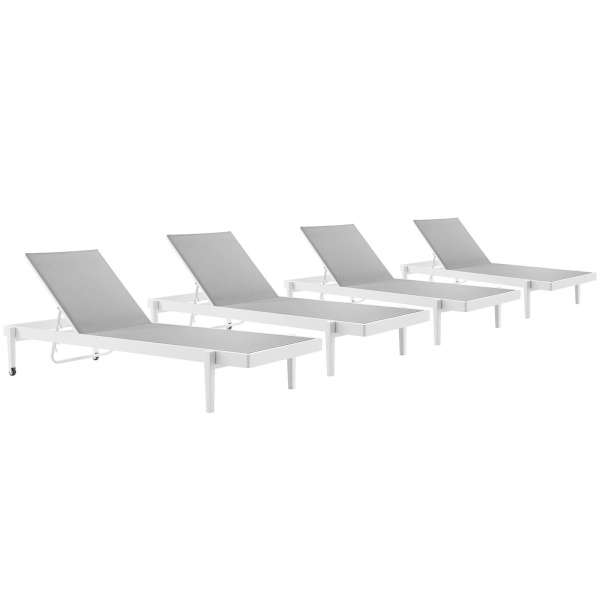 EEI-4205-WHI-GRY Charleston Outdoor Patio Aluminum Chaise Lounge Chair Set of 4 White Gray