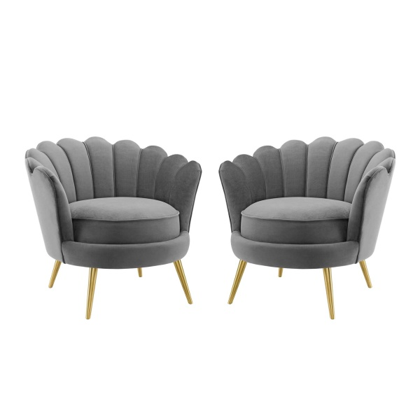 EEI-4294-GRY Admire Accent Armchair Performance Velvet Set of 2 in Gray