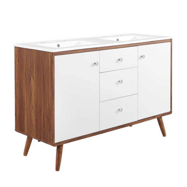"EEI-4440-WAL-WHI Transmit 48"" Double Sink Bathroom Vanity Walnut White"
