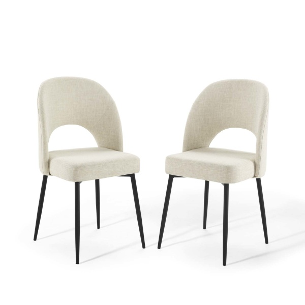 EEI-4490-BLK-BEI Rouse Dining Side Chair Upholstered Fabric Set of 2 Black Beige
