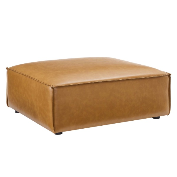 EEI-4496-TAN Restore Vegan Leather Ottoman Tan