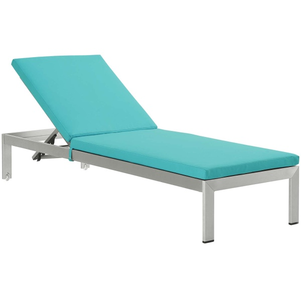 EEI-4501-SLV-TRQ Shore Outdoor Patio Aluminum Chaise with Cushions Silver Turquoise