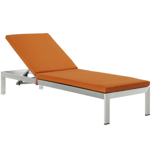 EEI-4502-SLV-ORA Shore Outdoor Patio Aluminum Chaise with Cushions Silver Orange