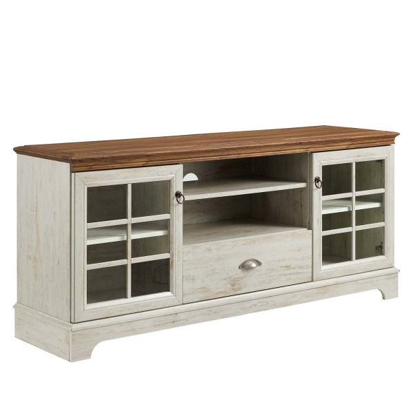 "EEI-4585-WAL-WHI Pacific 59"" TV Stand Walnut White"
