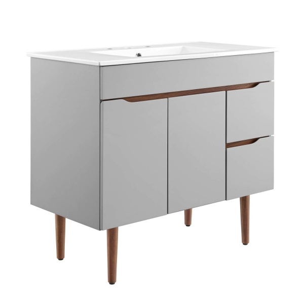"EEI-4670-GRY-WHI Harvest 36"" Bathroom Vanity Gray White"
