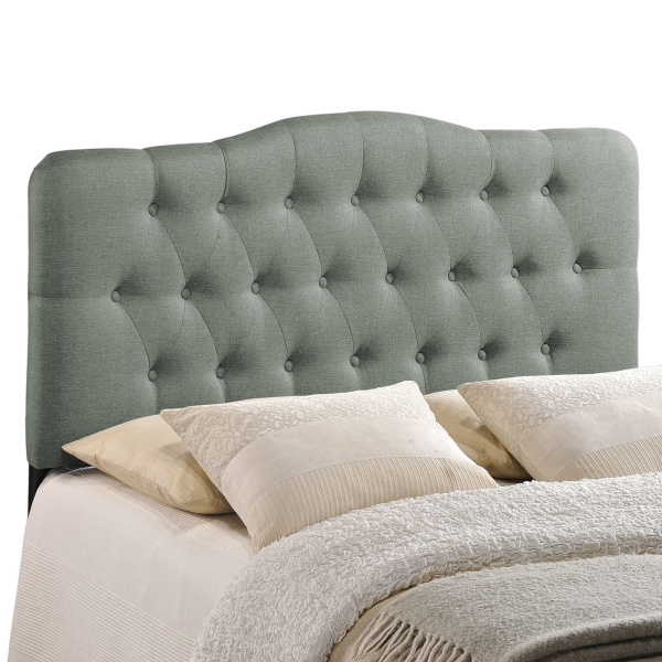 Annabel Queen Upholstered Fabric Headboard Gray