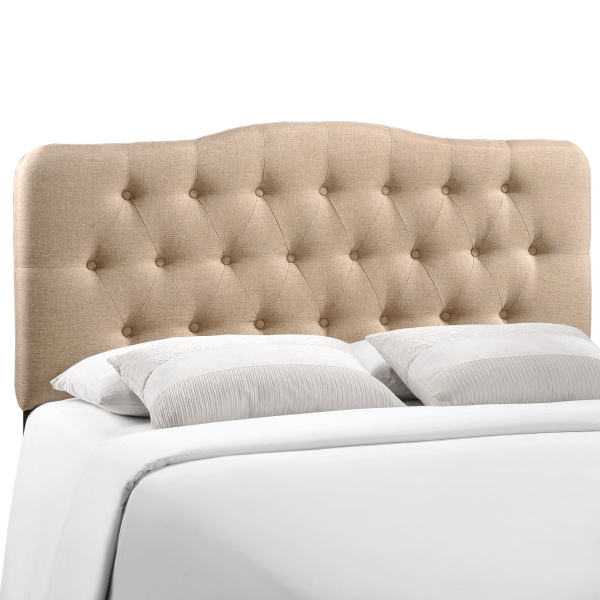 Annabel King Upholstered Fabric Headboard Beige