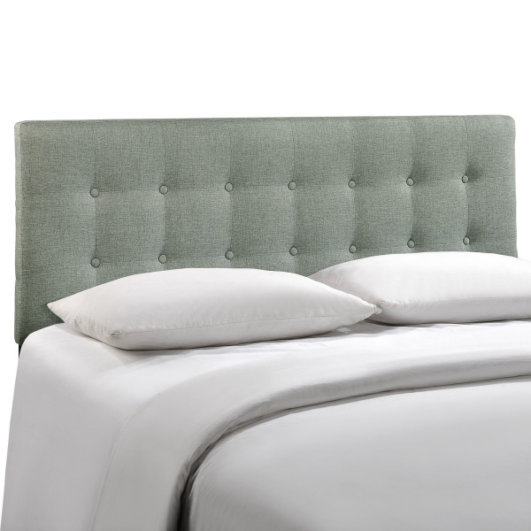 Emily King Upholstered Fabric Headboard Gray