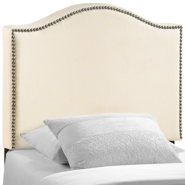 Curl Twin Nailhead Upholstered Headboard Ivory