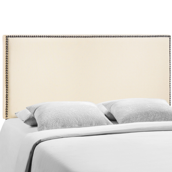 Region Queen Nailhead Upholstered Headboard Ivory