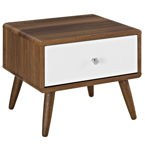 MOD-5731-WAL-WHI Transmit Nightstand Walnut White