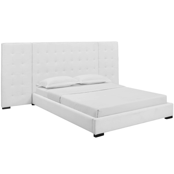 MOD-5818-WHI Sierra Queen Upholstered Fabric Platform Bed White