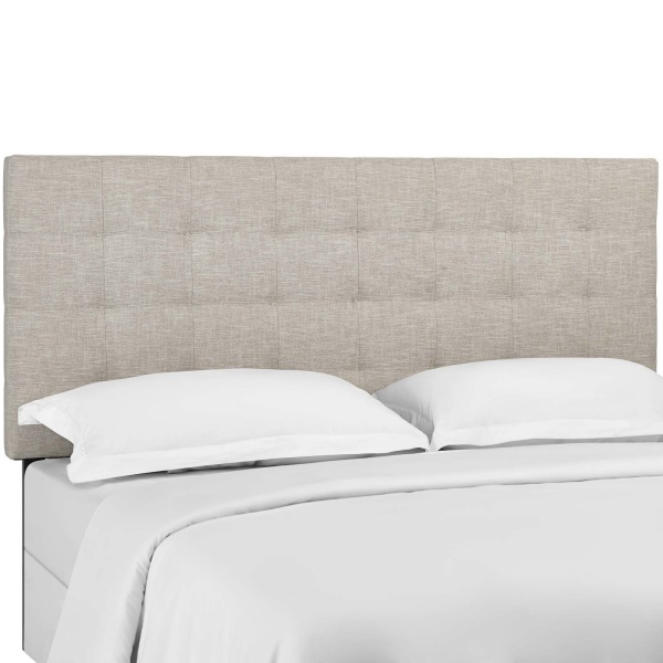Paisley Tufted Twin Upholstered Linen Fabric Headboard Beige