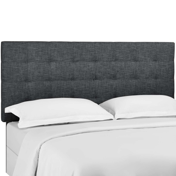 Paisley Tufted King and California King Upholstered Linen Fabric Headboard Gray