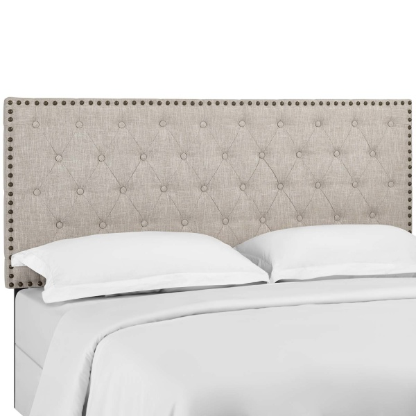 Helena Tufted Twin Upholstered Linen Fabric Headboard Beige