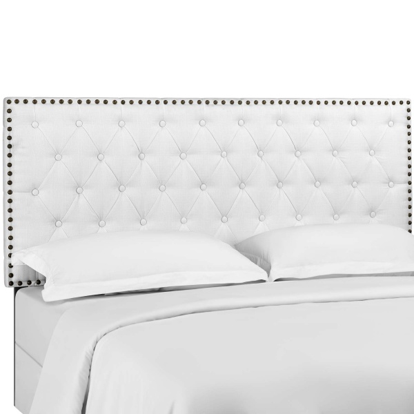 Helena Tufted Twin Upholstered Linen Fabric Headboard White