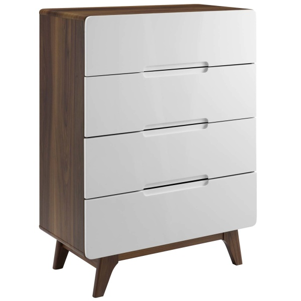 MOD-6075-WAL-WHI Origin Four-Drawer Chest or Stand Walnut White