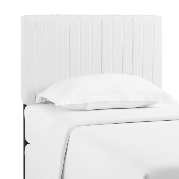 Keira Twin Faux Leather Headboard White