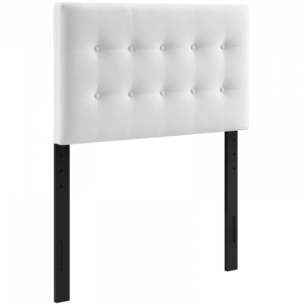 Emily Twin Biscuit Tufted Performance Velvet Headboard White